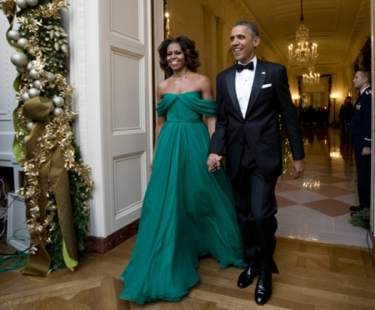 Michelle Obama stuns in emerald Marchesa Gown